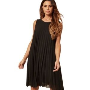 Black Cocktail Pleated Jersey Dress Sleeveless